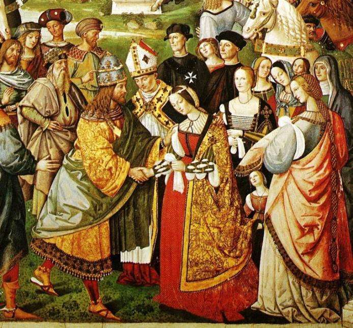 Enea Silvio Piccolomini (der spätere Papst Pius II.) stellt Friedrich III. dessen Braut Eleanora von Portugal vor - Auschnitt aus einem Fresko von Pinturicchio (1454-1513)
