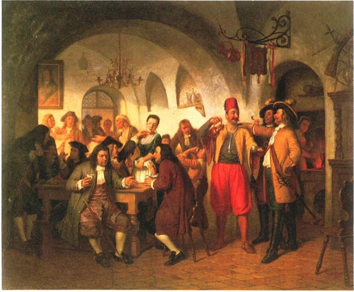 """Das erste Kaffeehaus in Wien (Franz Schams, 1862). Das Gemälde greift das Sagen-Motiv auf – Kolschitzky inmitten seiner Gäste in seinem Kaffeehaus """"Zur blauen Flasche"""", in familiärer Atmosphäre. Die Legende verdichtete historische Fakten in eine Person, in Kolschitzky, weil er der bekannteste von allen war."""