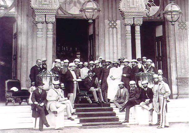 Kaiser Franz Joseph vor dem Gezira Palast in Ägypten, 22.11.1869