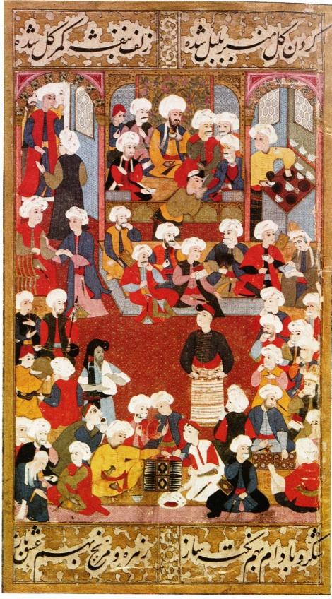 Kaffeehaus in Istanbul (türkische Buchmalerei, 16. Jahrhundert)