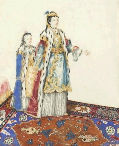 """Maria Theresa mit ihrer Tochter in """"Türkentracht"""" , gemalt von Jean-Etienne Liotard"""