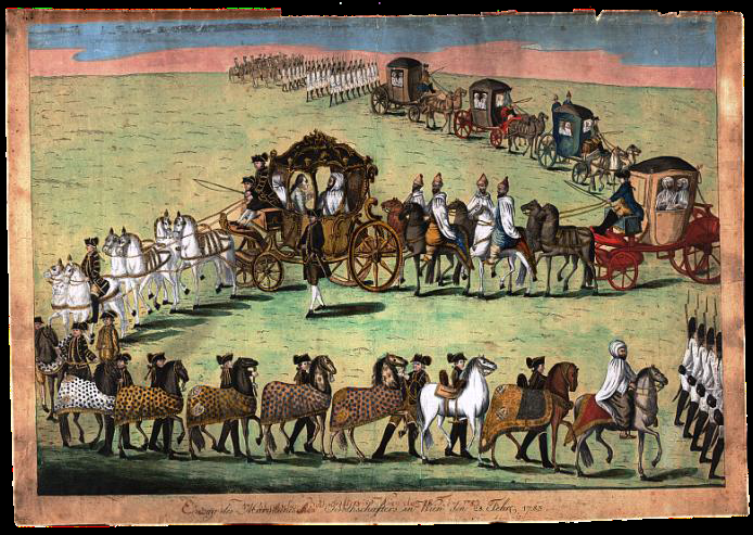 Einzug des marokkanischen Botschafters in Wien den 28. Februar 1783. Kolorierter Kupferstich von Hieronymus Loeschenkohl
