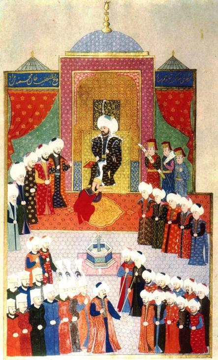 Mehmed II. tritt 1451 seine Herrschaft in Edirne an (Miniatur aus dem Hüner-nāme, 1523, heute im Topkapi Palast)
