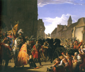 König Przemysl Ottokars Sohn Wenzel bittet Rudolf von Habsburg um die Leiche seines 1278 in der Schlacht bei Dürnkrut gefallenen Vaters (Wien, Österreichische Galerie), Anton Petter, 1826.