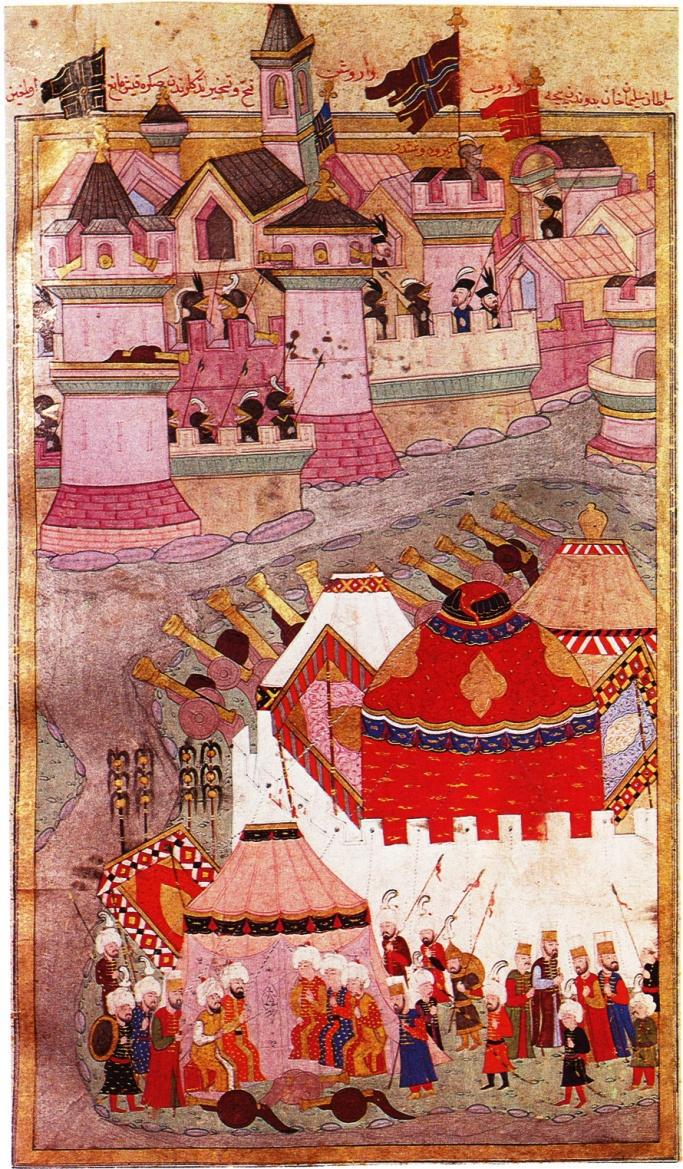 """Sulṭān Süleyman vor Wien (Türkische Buchmalerei um 1588). Die Überschrift der Miniatur lautet: """"Sulṭān Süleyman Chan kam von Ofen aus in Wien an; nachdem er die Vorstadt erobert und unterworfen hatte, kehrte er wegen des hinderlichen Winters zurück."""""""