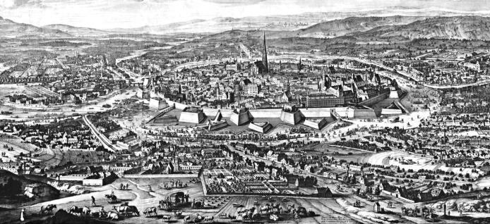 Wien und Umgebung 1683 vor der Belagerung (Kupferstich von Joseph Mulder nach Folbert van Alten-Allen )
